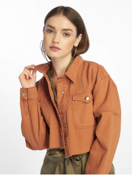 Missguided Denim Jacket Contrast Stitch Cropped brown