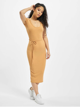Missguided Dress Petite SS Tie Belt Rib Midi beige