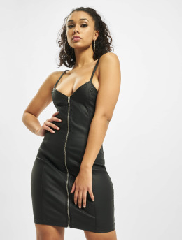 Missguided Dress Coated Zip Through Denim Cami  black