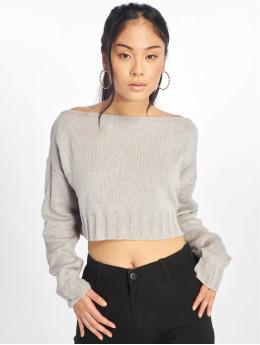 Missguided Gensre Brushed Off The Shoulder Knitted Jumper grå