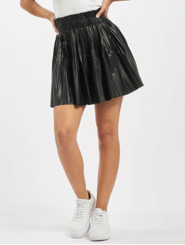 Missguided Gonna Pu Pleated Elasticated Waist Mini nero