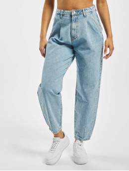 Missguided Høy midje Jeans Slouch Pleat Detail blå