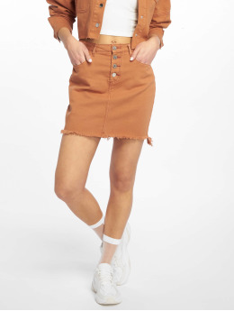 Missguided Hameet Exposed Button Step Hem Denim Mini ruskea