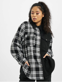 Missguided Hemd Petite Oversized Check Denim schwarz