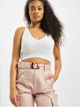 Missguided Hihattomat paidat Knitted V Neck Crop valkoinen