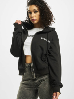 Missguided Hoodies con zip Zip Through nero