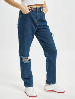 Missguided Jean coupe droite Petite Thigh Knee Slit bleu