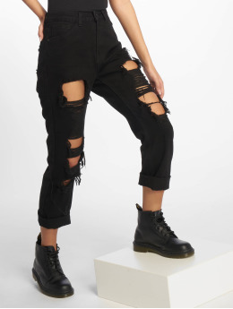 Missguided Jean coupe droite Wrath Shredded noir