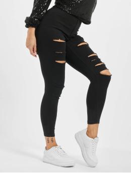 Missguided Jeans de cintura alta Petite Vice Rip Skinny High Waist negro