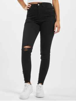 Missguided Jeans de cintura alta Sinner Destroyed Hem Skinny Highwaisted  negro