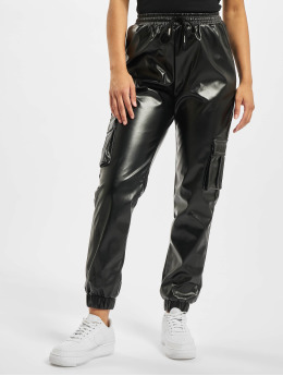 Missguided joggingbroek Contrast Stitch PU Utility zwart