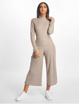 Missguided Jumpsuit High Neck Ls Rib grau