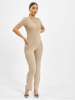 Missguided Jumpsuit Rib Short Sleeve Flare Leg grau