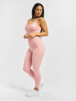 Missguided Jumpsuit Playboy Low Back Lounge rosa chiaro