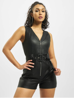 Missguided Jumpsuit PU Zip schwarz