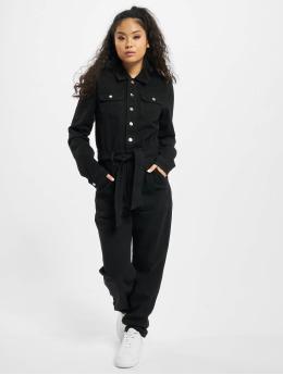 Missguided Jumpsuit Button Through Denim schwarz