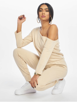 Missguided Jumpsuits Tall Loopback Off The Shoulder bezowy