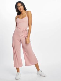 Missguided Jumpsuits Rib Culotte růžový