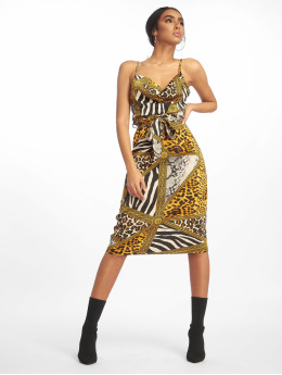 Missguided jurk Cowl Neck Animal Print Satin Midi geel