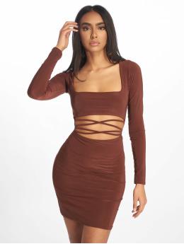 Missguided Kjoler Cut Out Slinky Long Sleeve Mini brun