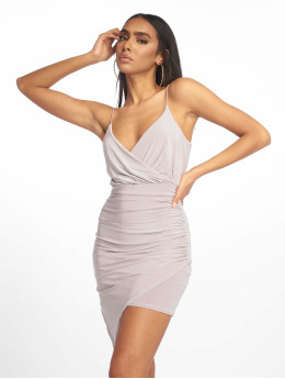 Missguided Kleid Strappy Slinky Wrap Bodycon grau