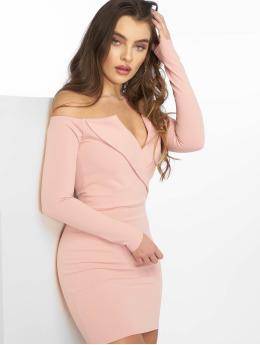 Missguided Frauen Kleid Bardot Foldover Wrap in rosa
