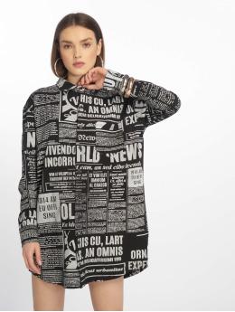 Missguided Kleid Oversized Jersey Shirt Newspaper schwarz
