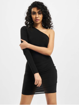 Missguided Kleid Slinky One Sleeve Ruched Mini  schwarz