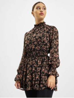 Missguided Kleid High Neck Shirred Waist Floral schwarz