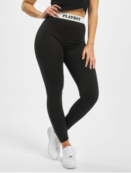 Missguided Leggings/Treggings Playboy Slogan Waistband  black