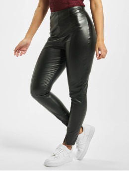 Missguided Leggings/Treggings Faux Leather Split Front czarny