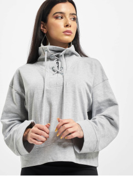 Missguided Maglia High Neck Tie Detail Long Sleeve grigio