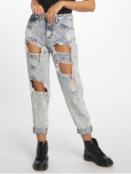 Missguided Mom Jeans  Bleach Riot High Rise Ripped blå
