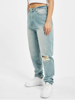 Missguided Mom Jeans Riot Single Busted Knee blå