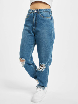 Missguided Mom Jeans Riot Highwaisted Busted Knee blå