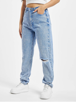 Missguided Mom Jeans Riot Single Busted Knee blue