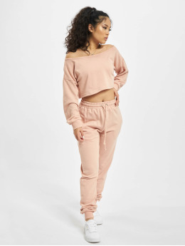 Missguided Obleky Coord Off The Shoulder růžový