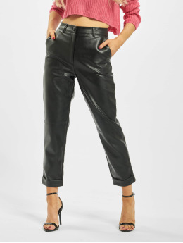 Missguided Pantalon chino Petite Faux Leather Hem Cigarette noir