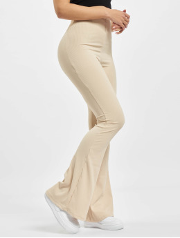 Missguided Pantalón deportivo Ribbed Flare  beis