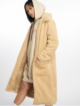 Missguided Parka Longline Borg Throw On beige