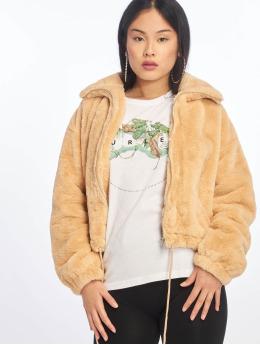 Missguided Zimní bundy Faux Fur béžový