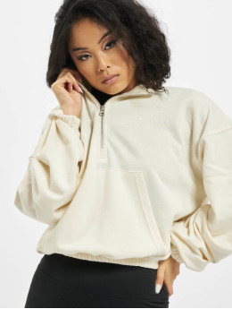 Missguided Pullover Half Zip Kangroo Pocket white