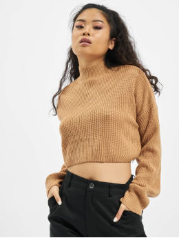 Missguided Pulóvre High Neck Crop béžová