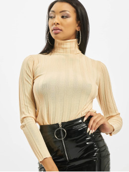 Missguided Puserot High Neck Rib Long Sleeve Knitted  beige