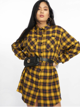 Missguided Robe Oversized Check jaune