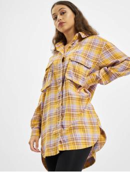 Missguided Robe Oversized Shirt Check jaune