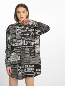 Missguided Robe Oversized Jersey Shirt Newspaper noir