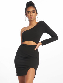 Missguided Robe One Shoulder Cut Out Mini noir