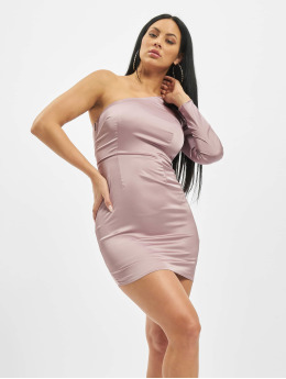 Missguided | One Sleeve Stretch Satin Mini pourpre Femme Robe