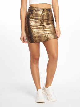 Missguided Rok Metallic Snake Coated Denim goud